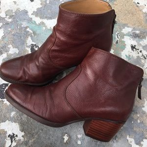 Nine West burgundy leather ankle boots women 8